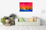 Gold Tree and Red Sky Wall Art Print on the wall
