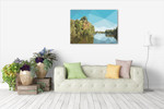Fractal Lakeside Wall Art Print on the wall