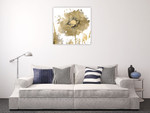 Flower Burst in Gold I Wall Art Print on the wall