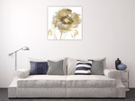 Flower Burst in Gold II Wall Art Print on the wall