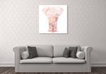 Pink Mandala Elephant Wall Art Print on the wall