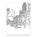 Chicago Cityscape Line Wall Art Print