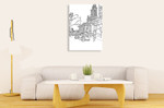 Chicago Cityscape Line Wall Art Print on the wall