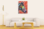 Purple Horse Wall Art Print on the wall