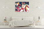 Apple and Strawberry Wall Art Print on the wall
