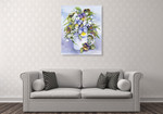 Purple Pansy Wall Art Print on the wall