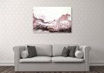Pink Blush Ink Flow Wall Art Print on the wall