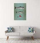 Surviving Fish Wall Art Print on the wall