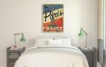 Vintage Paris Eiffel Tower Wall Art Print on the wall