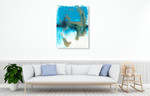 Marbling Blue Blown Wall Art Print on the wall
