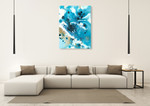 Marbling Blue Water Wall Art Print on the wall