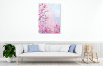 Japanese Cherry Flower Wall Art Print on the wall