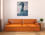 Aqua Duck Wall Art Print on the wall