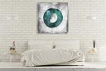 The Teal Half Moon Wall Art Print on the wall