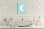 White Moon Wall Art Print on the wall