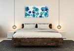 Aqua Blossom Wall Art Print on the wall
