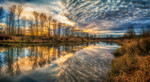 Clouds And River Wall Art Print