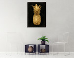Gold Pineapple on Black I Wall Art Print on the wall
