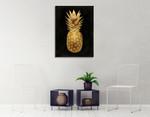 Gold Pineapple on Black II Wall Art Print on the wall
