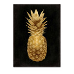 Gold Pineapple on Black II Wall Art Print