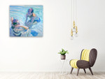 Turquoise Pool Wall Art Print on the wall