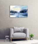 Winter River Wall Art Print on the wall