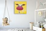 Yellow Cow Wall Art Print on the wall