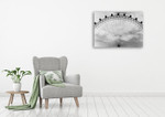 Black and White London Eye Wall Art Print on the wall