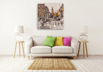 London in Gold Wall Art Print on the wall