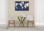 Blueprint World Map Wall Art Print  on the wall