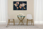 Botanical Floral Map Wall Art Print on the wall