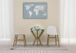 Calm World Map Grid Wall Art Print on the wall