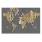 Gilded Map Grey Wall Art Print