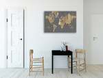 Gilded Map Grey Wall Art Print on the wall