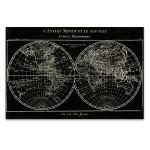 Map of the World Black Wall Art Print