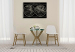 Map of the World Black Wall Art Print on the wall