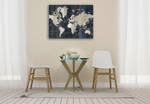 Old World Map Blue Wall Art Print on the wall