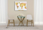 Watercolor World Map Wall Art Print on the wall