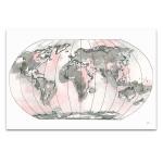 World Map Blush Wall Art Print