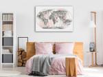 World Map Blush Wall Art Print on the wall