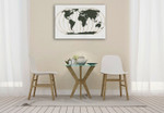 World Map Gold Lines Wall Art Print on the wall