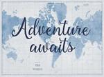 World Map White and Blue Wall Art Print
