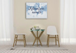 World Map White and Blue Wall Art Print on the wall