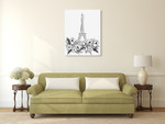 Eiffel Black and White Wall Art Print on the wall