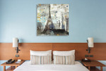 Eiffel Tower Neutral Wall Art Print on the wall