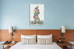 Floral Eiffel Tower Wall Art Print on the wall