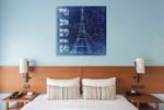 Paris Blue Wall Art Print on the wall
