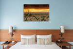 Sunset to Paris Wall Art Print on the wall