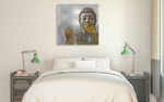 Silver and Gold Buddha Wall Art Print on the wall
