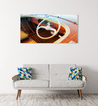 Vintage Speed Boat Wall Art Print on the wall